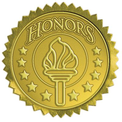 Embossed Foil Seals (1 1/2) Gold Honors