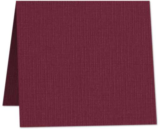6 x 6 Square Folded Card Burgundy Linen
