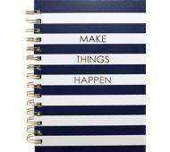 6 x 8 Spiral Hardcover Journal - Navy Strip, Make Things Happen