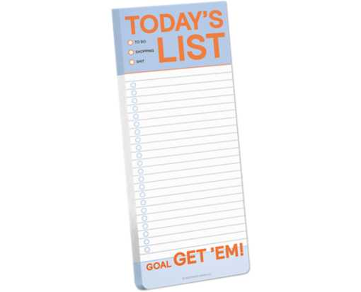 "3.5 x 9 Make-a-List Note Pad (50 Sheets) Blue ""Today's List"""