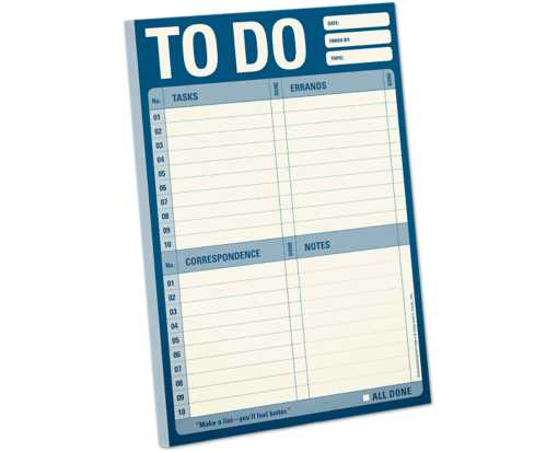 Knock Knock 6 x 9 Classic Notepad (60 Sheets) Blue - To Do