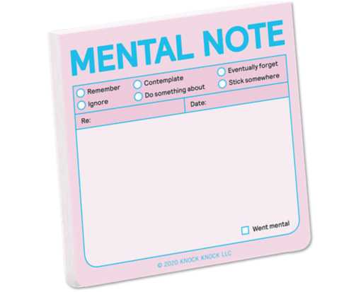 "Knock Knock 3 x 3 Fresh Look Sticky Note Pad (100 Sheets) Pink/Blue ""Mental Note"""