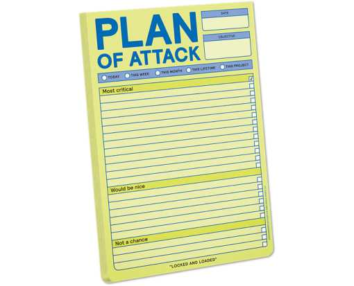 Knock Knock 6 x 9 Classic Notepad (60 Sheets) Yellow - Plan of Attack