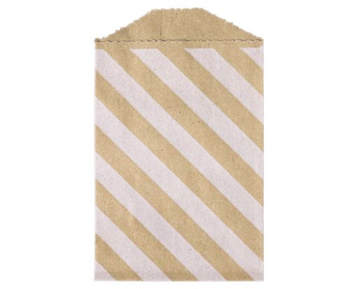 Little Bitty Bag (2 3/4 x 4) - Grocery Bag with White Diagonal Stripes Diagonal Stripe Grocery Bag