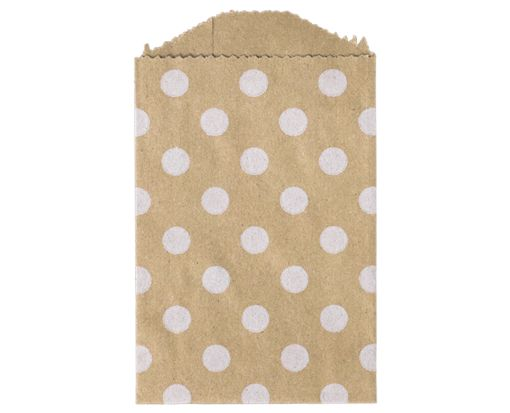 Little Bitty Bag (2 3/4 x 4) - Grocery Bag with White Polka Dots White Polka Dot