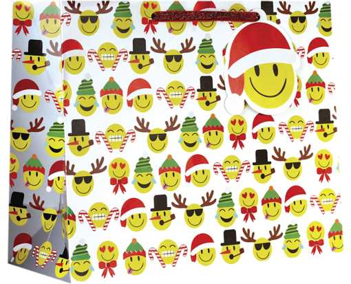Large (12 1/2 x 10 x 5) Gift Bag Emoji Christmas