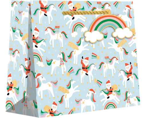 Large (12 1/2 x 10 x 5) Gift Bag Merry Unicorns