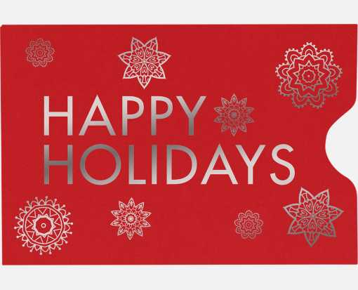 Credit Card Sleeve (2 3/8 x 3 1/2) Happy Holidays on Ruby Red