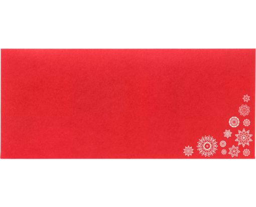 #10 Square Flap Envelopes (4 1/8 x 9 1/2) Snowflakes on Ruby Red