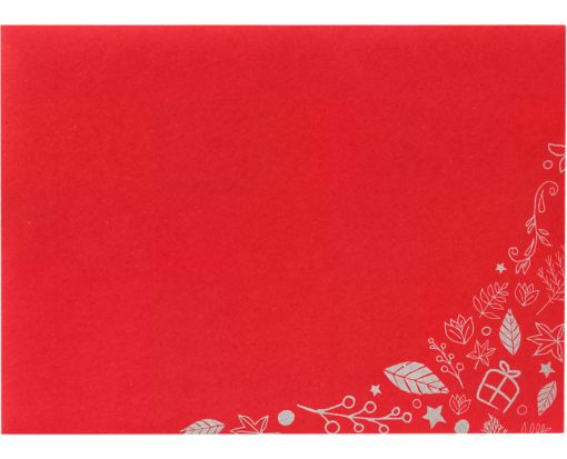 A7 Invitation Envelopes (5 1/4 x 7 1/4) Holiday Leaves on Ruby Red
