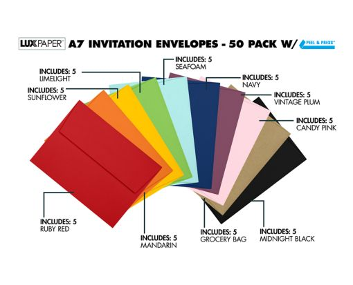A7 Invitation Envelopes (5 1/4 x 7 1/4) - Pack of 50 Assorted