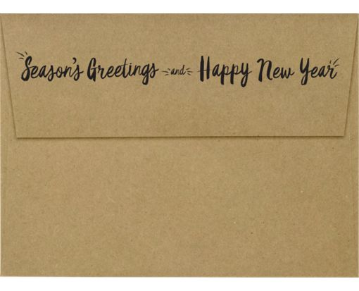 A7 Invitation Envelopes (5 1/4 x 7 1/4) Seasons Greetings & Happy New Year on Grocery Bag