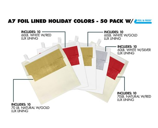 A7 Foil Lined Invitation Envelopes (5 1/4 x 7 1/4) - Holiday 50 Pack Assorted