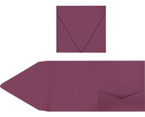 6 x 6 Pocket Invitations Vintage Plum