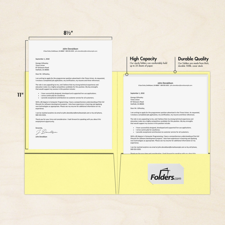 9 x 12 Presentation Folders Lemonade