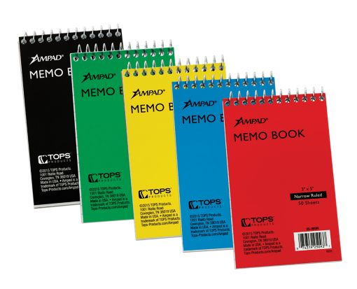3 x 5 Ampad Memo Books - Narrow Ruled Assorted