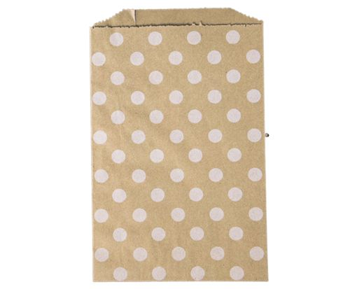Middy Bitty Bag (5 x 7 1/2) - Grocery Bag with White Polka Dots White Polka Dot