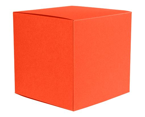 Medium Cube Gift Boxes (3 17/32 x 3 9/16 x 3 17/32) Tangerine