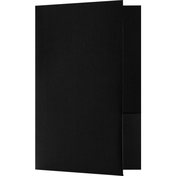 5 3/4 x 8 3/4 Small Presentation Folders - Two Pockets Black Linen