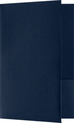 "Small Presentation Folders in Blue Linen with a standard two pocket design measure 5 3/4"" x 8 3/4"" and are constructed the same way as larger folders, only smaller. Use Small Presentation Folders for holding 5 1/2"" x 8 1/2"" or smaller pamphlets, stepped inserts and more. The two interior pockets measure 3"" in height and the right pocket features card slits to securely hold and display standard size business cards (3 1/2"" x 2""). This folder is created from thick, durable 100lb. cover stock in a classic, dark blue color with a high-quality linen texture. The square corners of this small size presentation folder were expertly die-cut for a clean, professional look."