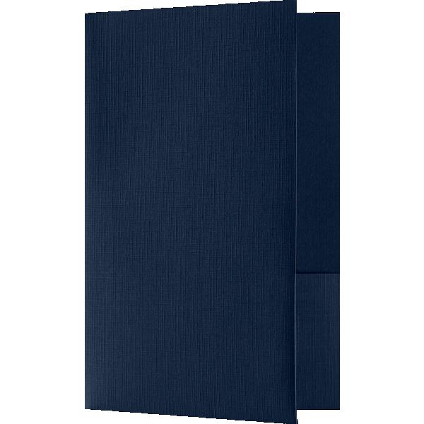 5 3/4 x 8 3/4 Small Presentation Folders - Standard Two Pockets Blue Linen
