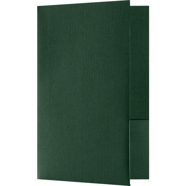 5 3/4 x 8 3/4 Small Presentation Folders - Two Pockets Green Linen