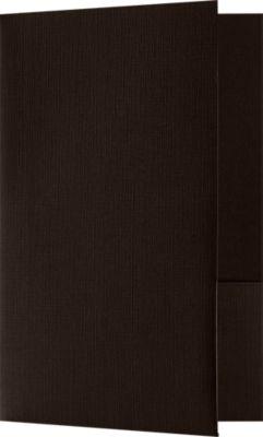 Small Presentation Folders - Two Pockets Espresso Linen