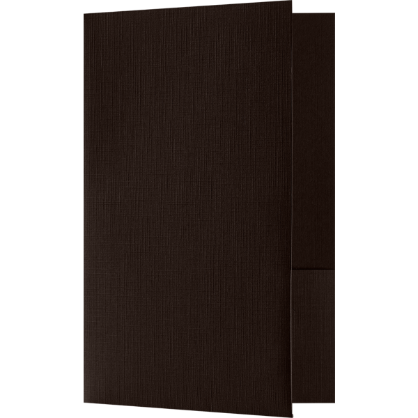 Small Presentation Folders - Two Pockets Espresso Linen
