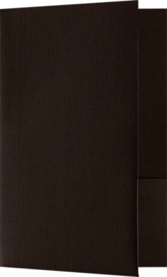 5 3/4 x 8 3/4 Small Presentation Folders - Two Pockets Espresso Linen