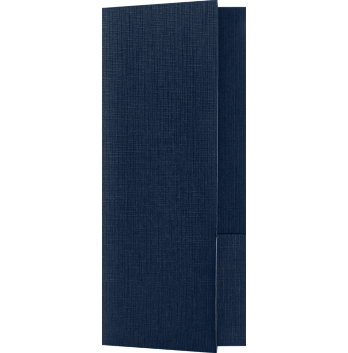 4 x 9 Mini Folders - Two Pockets Nautical Blue Linen