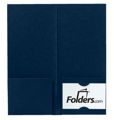 4 x 9 Mini Folders - Two Pockets Dark Blue Linen