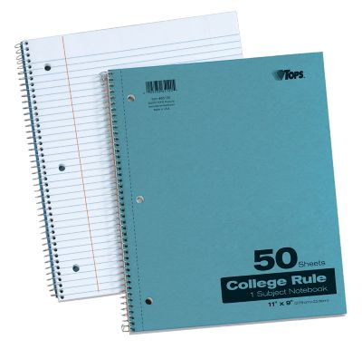 11 x 9 1 Subject Pressboard Notebooks Blue