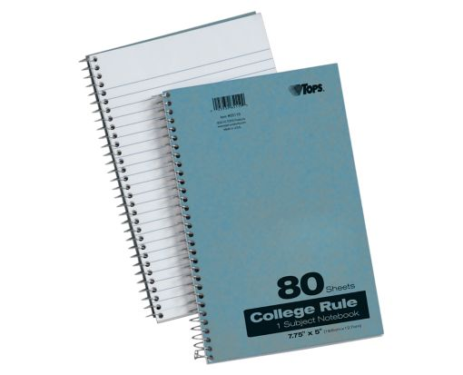 7 3/4 x 5 1 Subject Pressboard Notebooks Blue