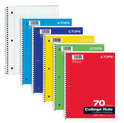 8 x 10 1/2 1 Subject Notebooks - College Ruled in Assorted colors are perfect for organizing, homework and taking notes. Each notebook is 3-hole punched and contains 70 sheets of paper. Perforated sheets make removing pages easy and coil wires prevent snagging of pages. Assorted cover colors include Red, Yellow, Green, Blue and Light Blue. Available in small quantities of 24 to large quantities of 504 and more.