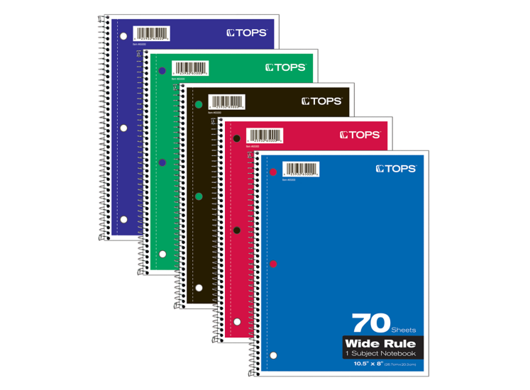 8 x 10 1/2 1 Subject Notebooks - Wide Ruled Assorted