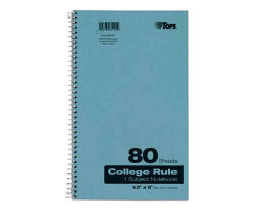 9 1/2 x 6 1 Subject Pressboard Notebooks Blue