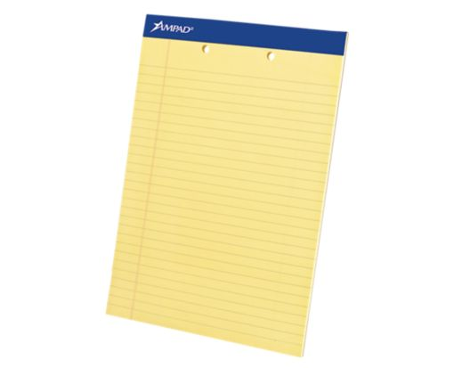 8 1/2 x 11 3/4 Ampad 2 Hole Punch Notepad Yellow