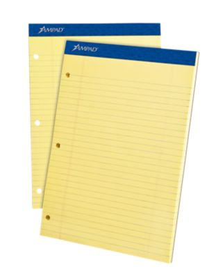 8 1/2 x 11 3/4 Ampad Notepad - 3 Hole Punch in Yellow are versatile writing pads perfect for school, homework and offices. Sturdy backing for extra support and 3-hole punched for use in standard 3 ring binders. Made in the USA. Available in small quantities of 36 to large quantities of 504 and more.