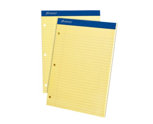 8 1/2 x 11 3/4 Ampad Notepad - 3 Hole Punch Yellow
