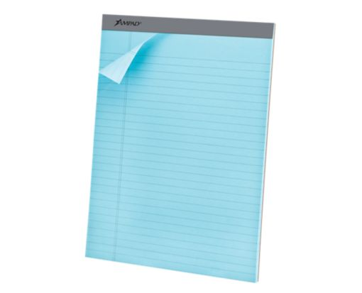 8 1/2 x 11 3/4 Ampad Legal Ruled Pastel Notepads Blue