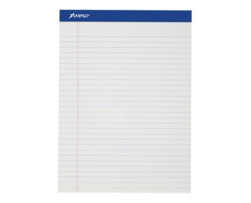 8 1/2 x 11 3/4 Ampad Notepads - Wide Ruled White