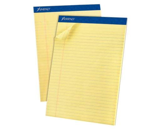 8 1/2 x 11 3/4 Ampad Notepads Yellow
