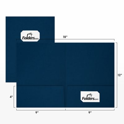 9 x 12 Presentation Folders - Standard Two Pocket w/ Front Cover Center Card Slits Dark Blue Linen