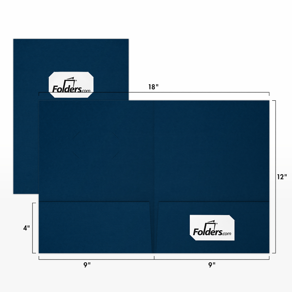 9 x 12 Presentation Folders - Standard Two Pocket w/ Front Cover Center Card Slits Nautical Blue Linen