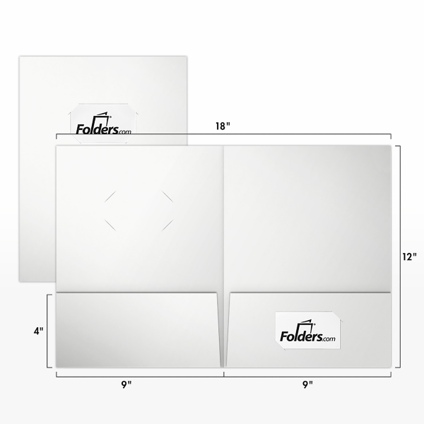 9 x 12 Presentation Folders - Standard Two Pocket w/ Front Cover Center Card Slits White Gloss