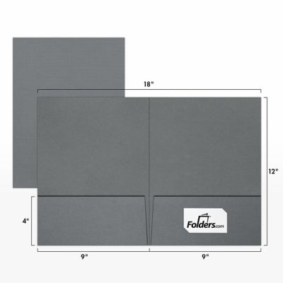 9 x 12 Presentation Folders - Standard Two Pocket w/ Front Cover Lower Right Card Slits Sterling Gray Linen