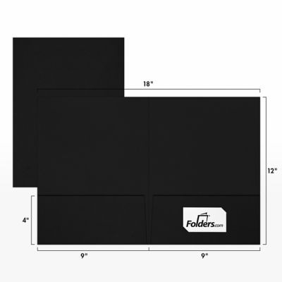 9 x 12 Presentation Folders - Standard Two Pocket w/ Front Cover Lower Right Card Slits Deep Black Linen