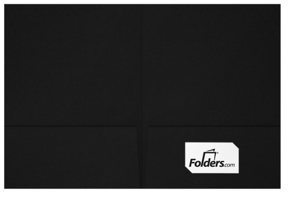 9 x 12 Presentation Folders - Standard Two Pocket w/ Front Cover Lower Right Card Slits Deep Black Linen