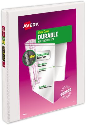 "1/2"" Durable View Poly Binder w/ Slant Rings White"
