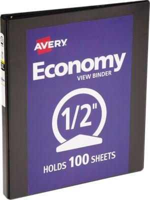 "1/2"" Economy View Poly Binder w/Round Rings Black"